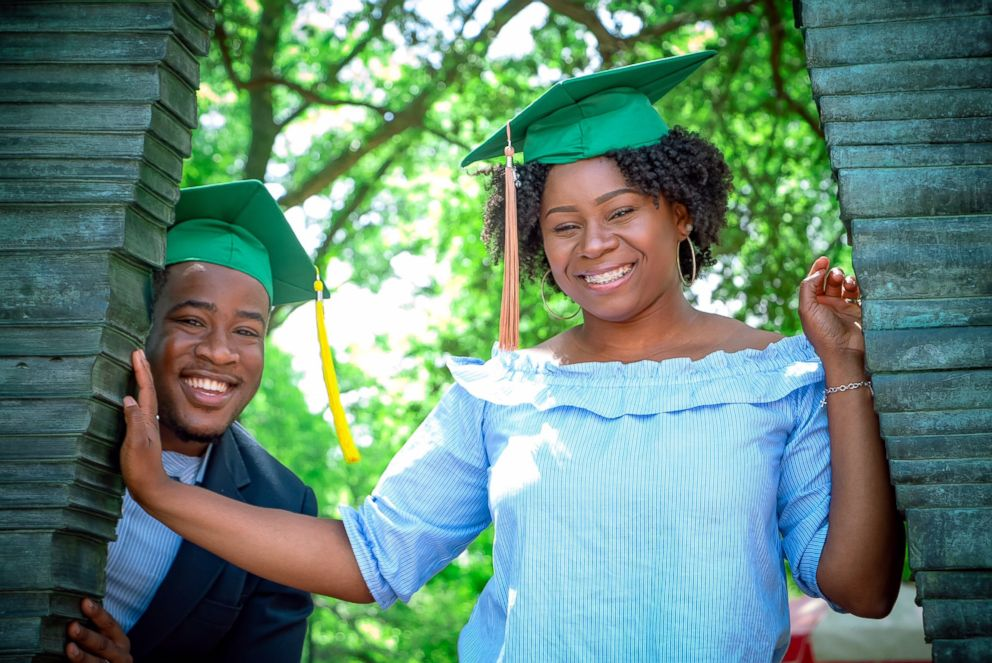 PHOTO: Joshua Okpara and Charmecia Goree became engaged at University of North Texas May 11, 2018 graduation.