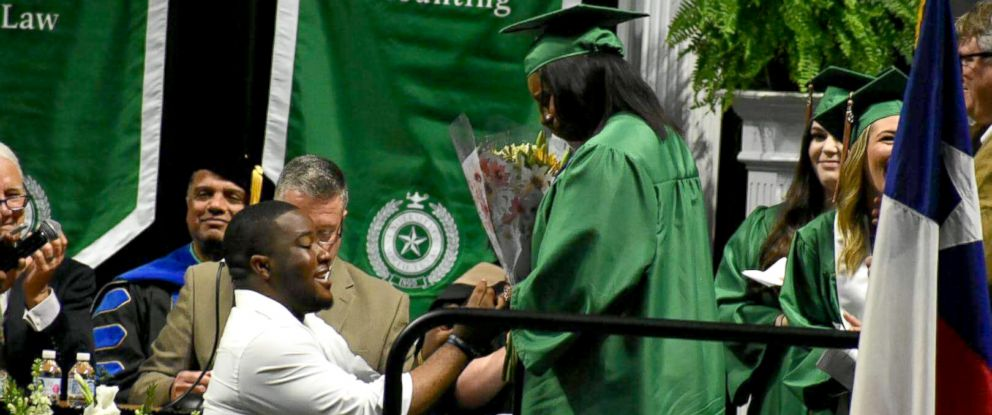 PHOTO: Joshua Okpara dropped down to one knee and proposed to Charmecia Goree at University of North Texas May 11, 2018 graduation.