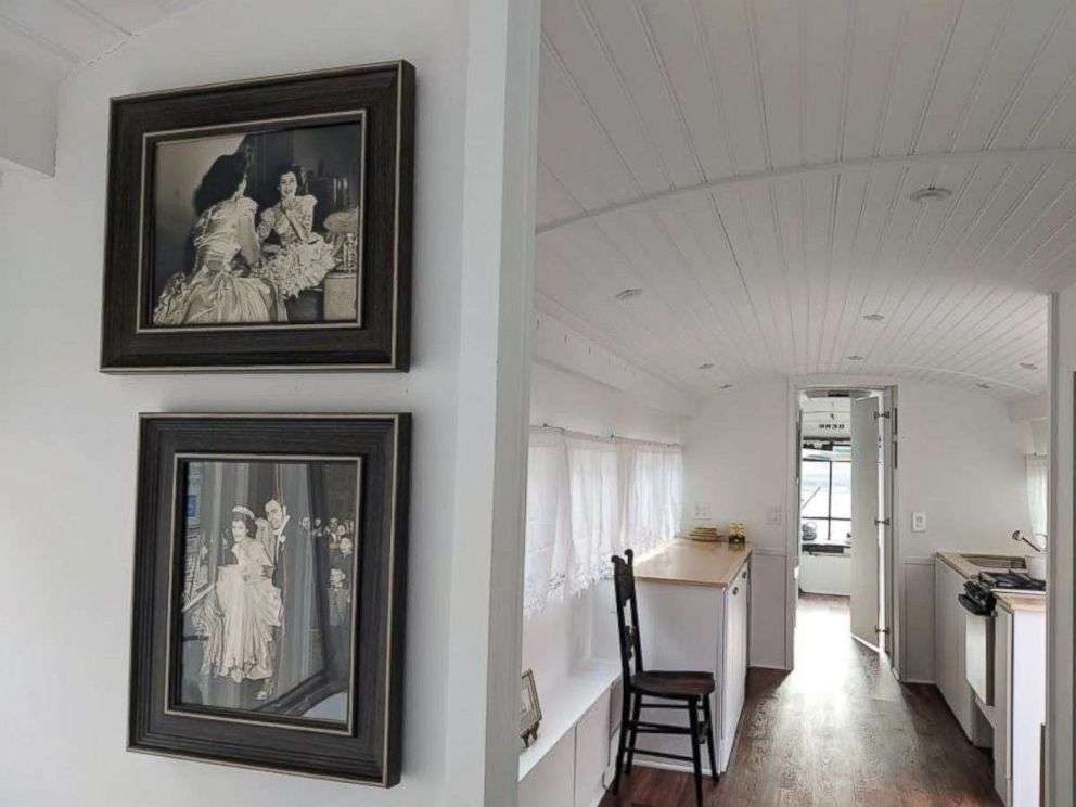 Jessie Lipskin hung old photos inside the RV she converted from a Greyhound commuter bus.