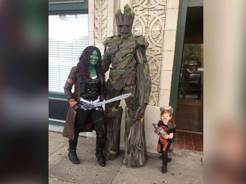 PHOTO: The Burket family of North Augusta, South Carolina, pose as Groot, Gamora and Rocket Raccoon from Guardians of the Galaxy.