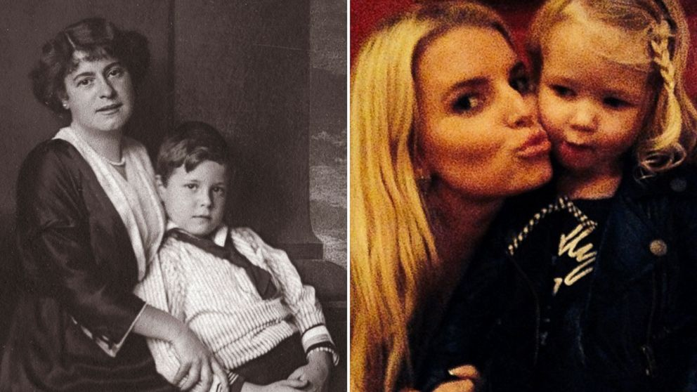 Austrian Actress Rosa Albach Retty, left, with her son Wolf is seen in this undated photo taken circa 1914, and Jessica Simpson, right, is seen in this undated photo that was posted in Instagram in February, 2014.