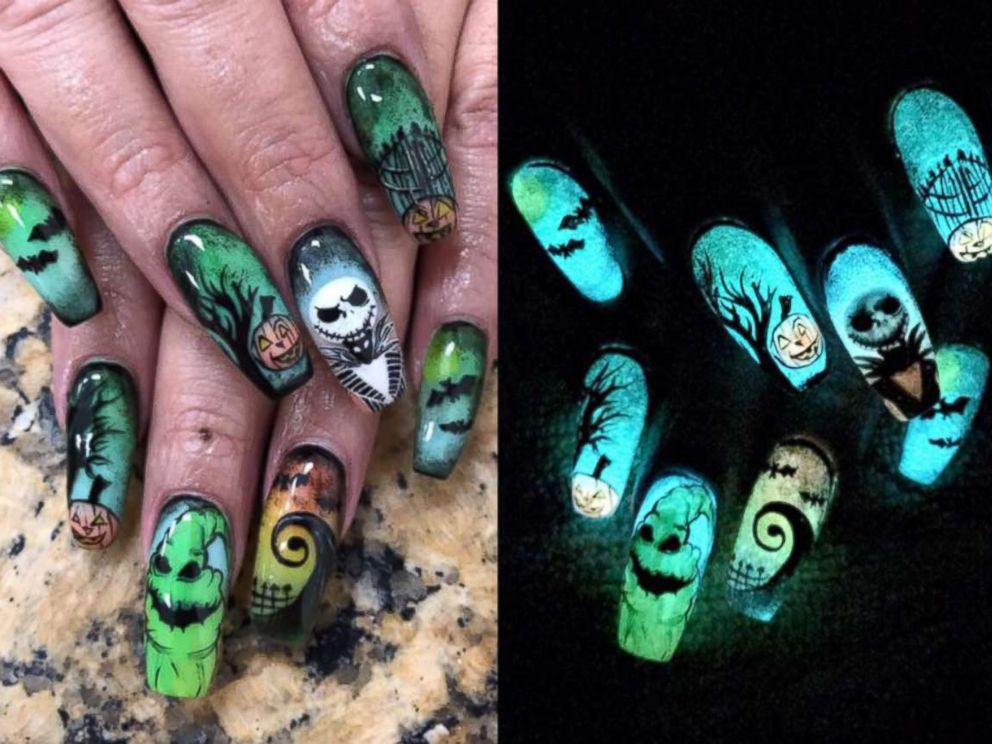 nightmare before christmas themed nail art photo nichole herrera of corpus christi texas went viral with this halloween