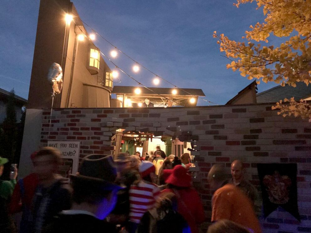 PHOTO: On Halloween night, hundreds of children and adults entered through a magic brick wall to see the spellbinding setup.
