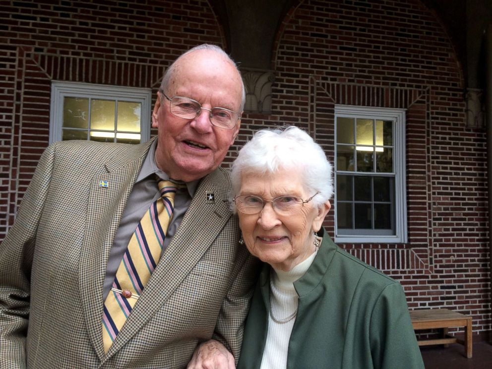 PHOTO: World War II veteran Harvey Djerf with his wife of 69 years, Patricia.
