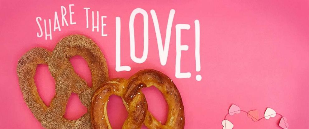 PHOTO: Auntie Annes offers buy one, get one heart-shaped pretzels this Valentines Day.