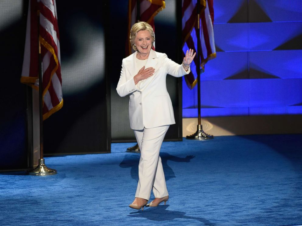 PHOTO: Hillary Clinton, wearing a white pantsuit, takes the stage to accept the Democratic nomination for president, July, 28, 2017 in Philadelphia.