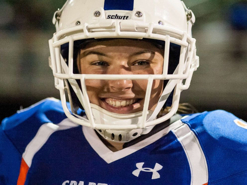 PHOTO: Holly Neher, 16, made history in the state of Florida when she started as quarterback for her Hollywood Hills High School varsity football team.
