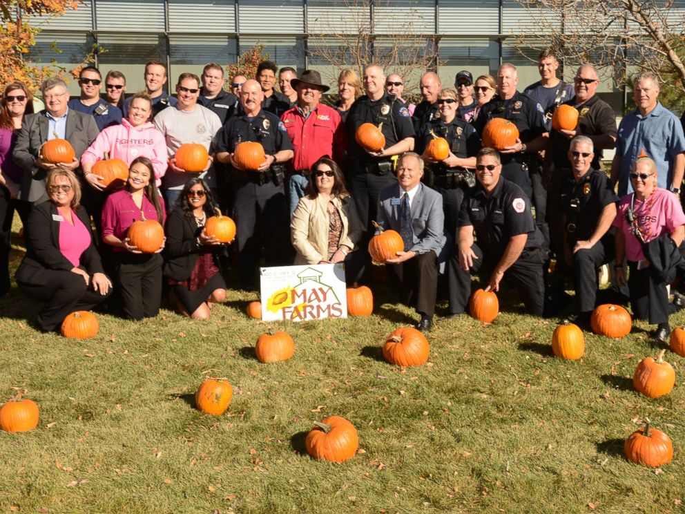 PHOTO: A local farm donated 200 pumpkins to Childrens Hospital Colorado, where police and firefighters helped the kids choose their pumpkins from the hospitals front lawn on Oct. 25, 2017.