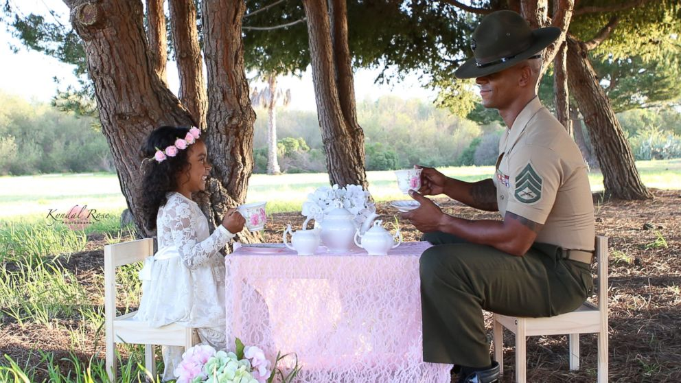 Kevin Porter, a U.S. Marine Corps drill instructor, had a tea part with his 4-year-old daughter, Ashley, in honor of April being the Month of the Military Child.