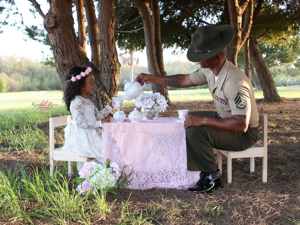 PHOTO: Kevin Porter, a U.S. Marine Corps drill instructor, had a tea part with his 4-year-old daughter, Ashley, in honor of April being the Month of the Military Child.
