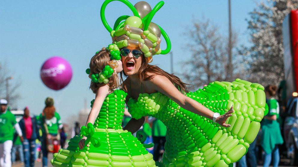 """Molly Balloons,"" of Kansas City, makes a elaborate dresses out of balloons."