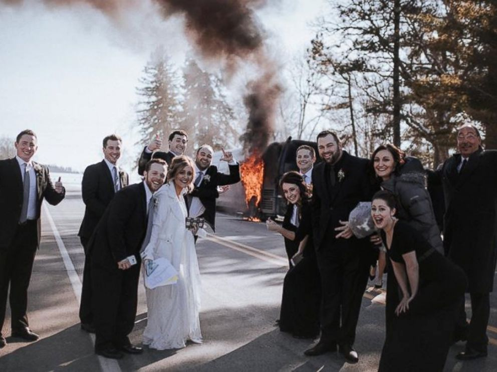 Photo Not Even Their Wedding Party Bus Catching Fire Was Going To Keep Krissi And