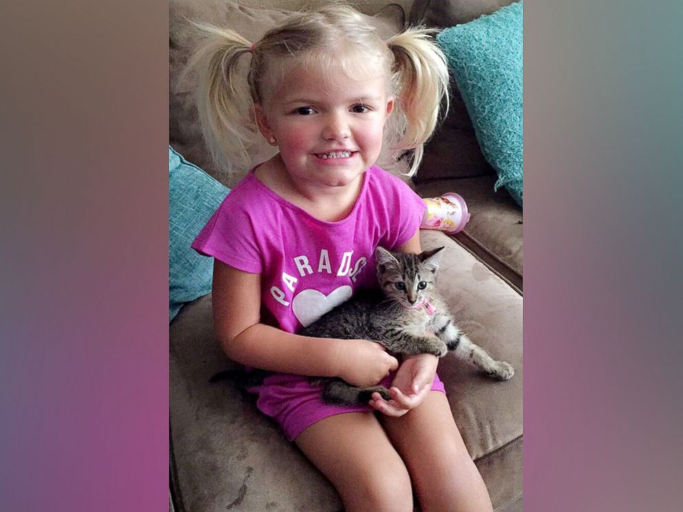 PHOTO: Eric Fillyaw, who helped rescue the kitten, brought it home to his daughter, Ainsley, 3, and the family named their new pet Porsche.