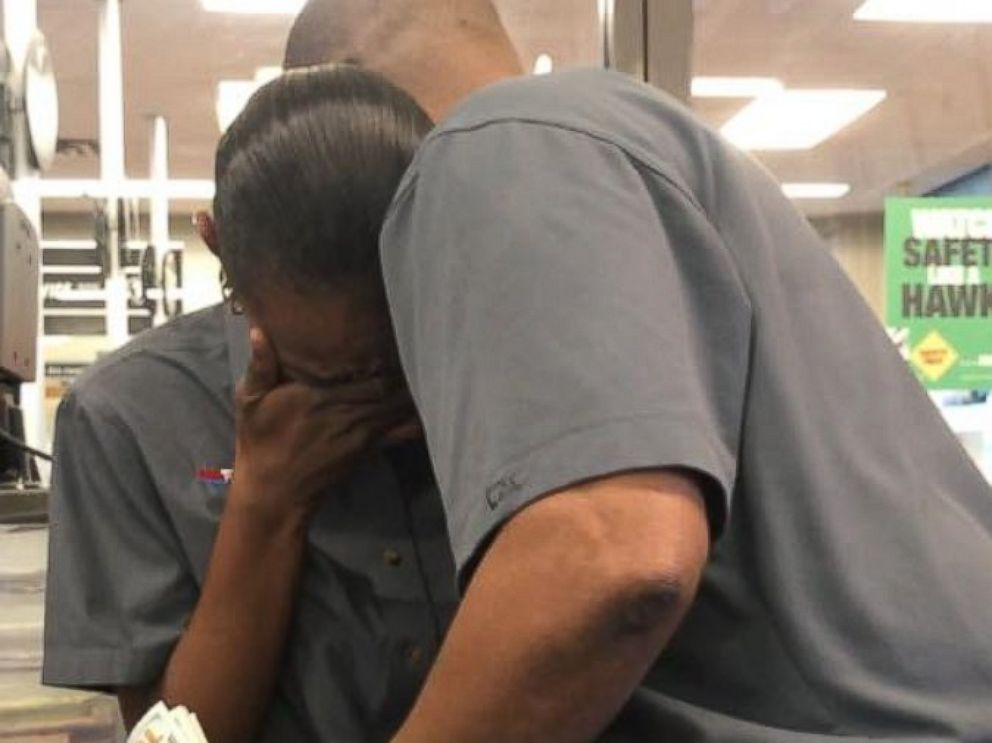 PHOTO:Firestone employee Tia Benbow was surprised with $1,300 from her boss and coworkers to help keep her long-distance job in Columbia, South Carolina.