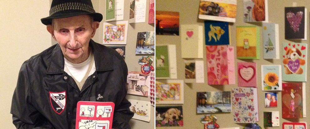 PHOTO: Jim Gaboardi, 89, of Bethel, Connecticut, opens dozens of cards daily after his eldest granddaughter, Meghan Henriques-Parker, 36, asked her Facebook friends to send mail to the senior center where he lives.
