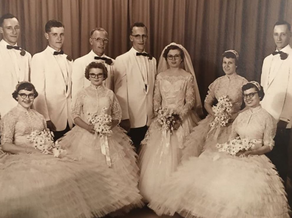 PHOTO: Janith Goedde celebrated her 60th anniversary to husband Joe Goedde by putting on her original 1957 Chantilly lace wedding gown.