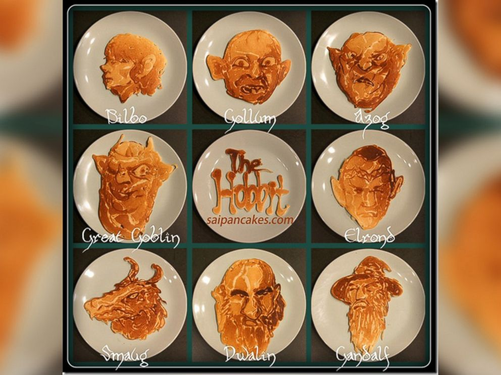 PHOTO: Characters from The Hobbit movie are portrayed in pancake art made by illustrator Nathan Shields for his children.