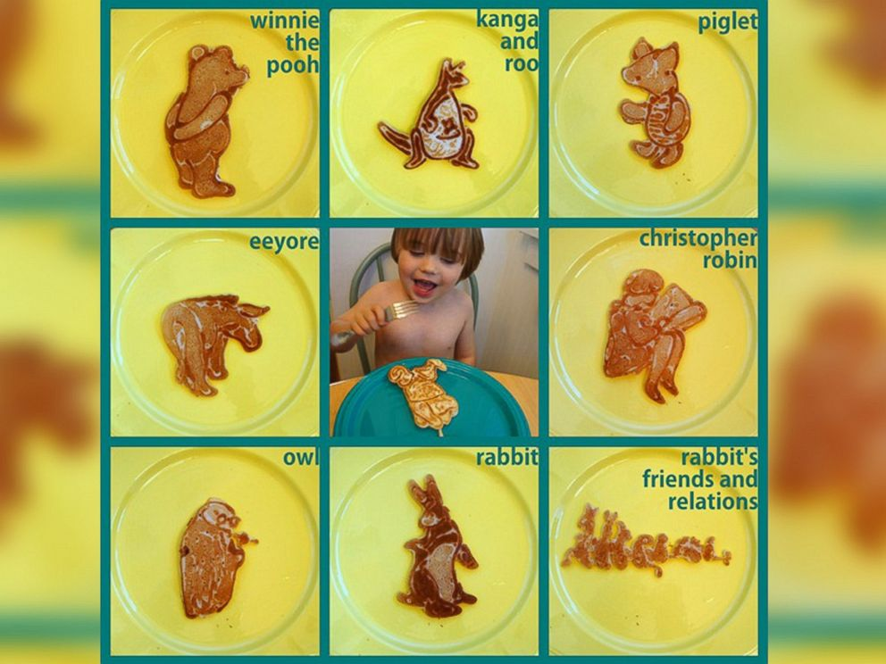PHOTO: Winnie the Pooh characters are portrayed in pancake art made by illustrator Nathan Shields for his children.