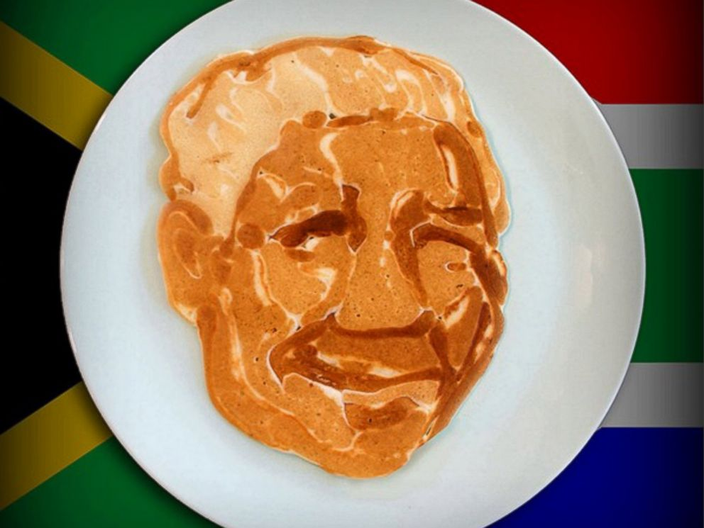 PHOTO: South African President Nelson Mandela appears in pancake art made by illustrator Nathan Shields for his children.