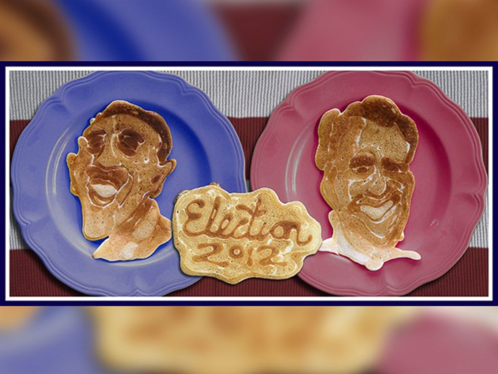 PHOTO: Barack Obama and Mitt Romney appear in pancake art made by Nathan Shields to illustrate the 2012 election for his children.