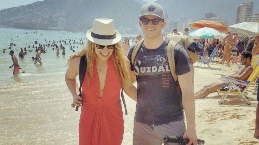 Megan Sullivan and Chris McNamara in Brazil on their trip to see the Seven Wonders of the World in 13 days.