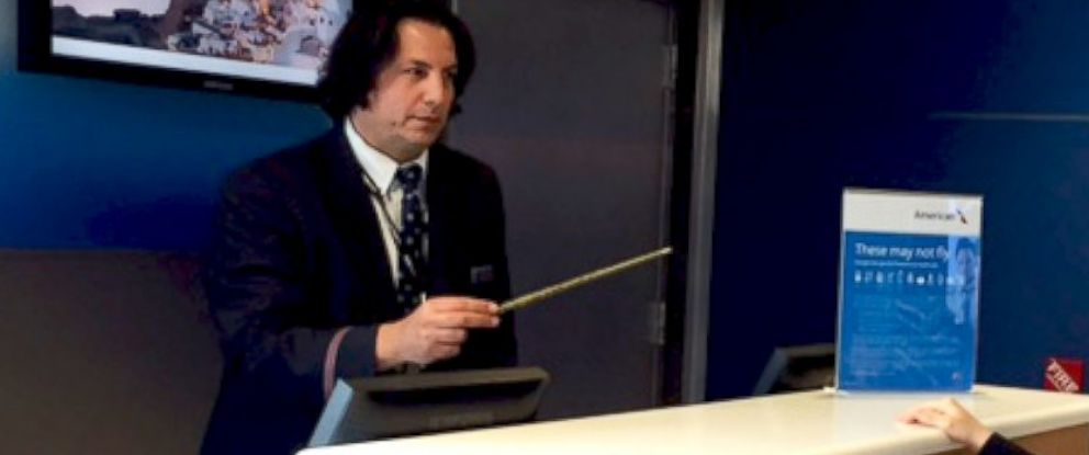 PHOTO: American Airlines Gate Agent David Dolci, seen here in an image tweeted by the airline on June 5, 2015, is often compared to the character Severus Snape from the Harry Potter movies.