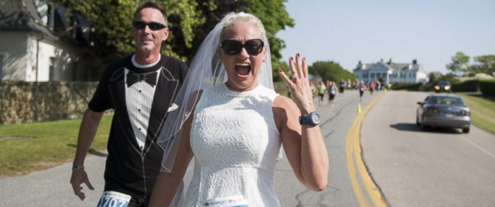 PHOTO: Rhode Island resident Linda Bachand donned a wedding gown-like running outfit for a 10-mile race on her wedding day.
