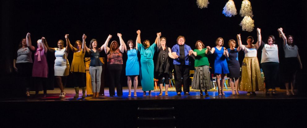 "PHOTO: The participants of ""Listen to Your Mother"" in Madisons 2014 show take a bow."