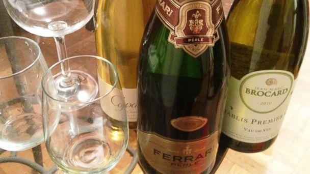 "PHOTO: White wine Copain Chardonnay, Ferrari Perle and Domaine Jean-Marc Brocard ""Vau de Vey"" Chablis."
