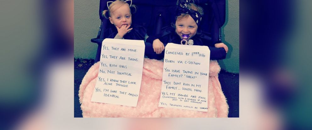 PHOTO: Annie Nolan of Melbourne, Australia posted this picture of her twin daughters with signs answering frequently asked questions to her Instagram feed on July 9, 2015.