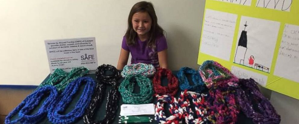 PHOTO: Six-year-old Aurora Smith started Mommy and Me, to make and sell scarves to help abused families.