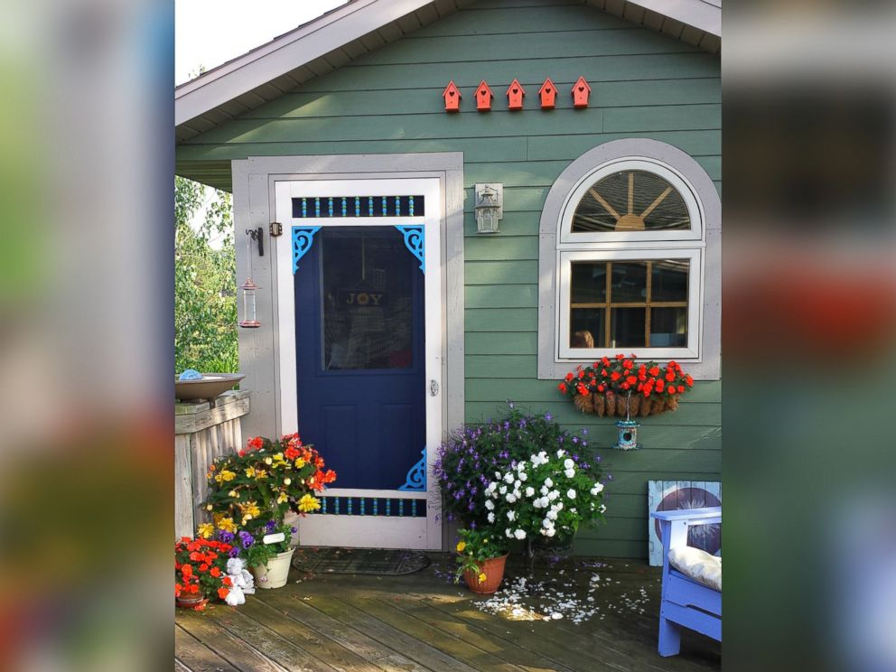 PHOTO: Barbara Techel uses her Wisconsin she shed for yoga and writing.