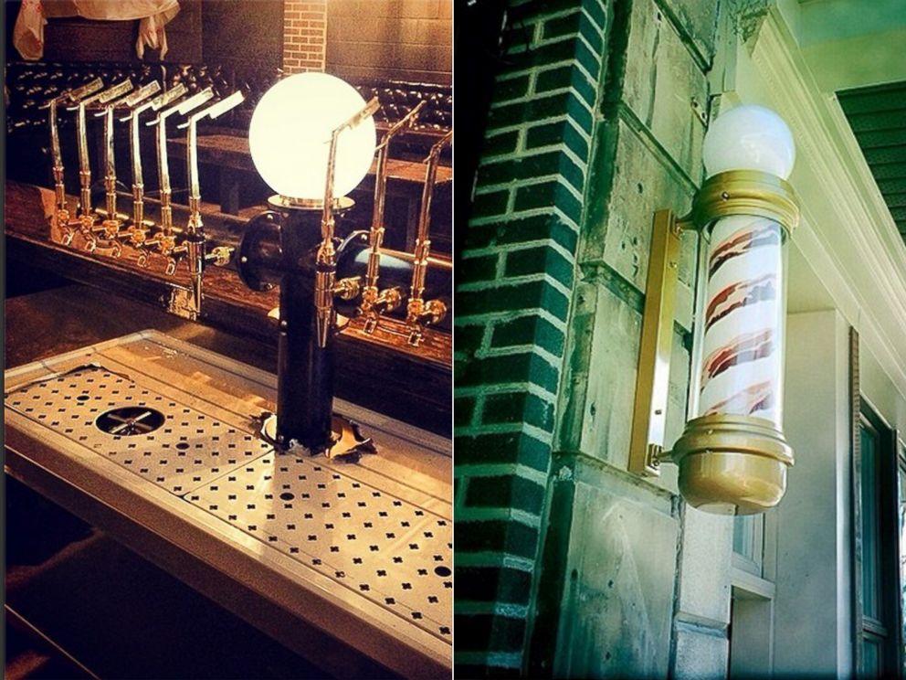 PHOTO: Bar Brutus custom-made straight razor beer tap handles and bacon barber pole.