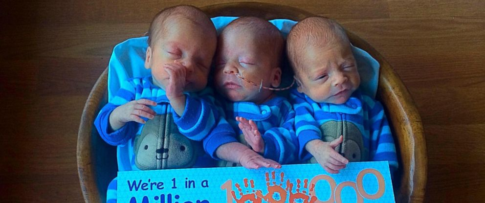 PHOTO: Jody and Jase Kinsey of Miles City, Montana, welcomed triplets Cade, Ian and Milo in December 2014.