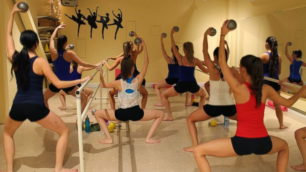 Boston Cannons Dancers Taking Hot Barre at Dance Fit Studio. The studio is the official sponsor of the Boston Cannons Dance Team.