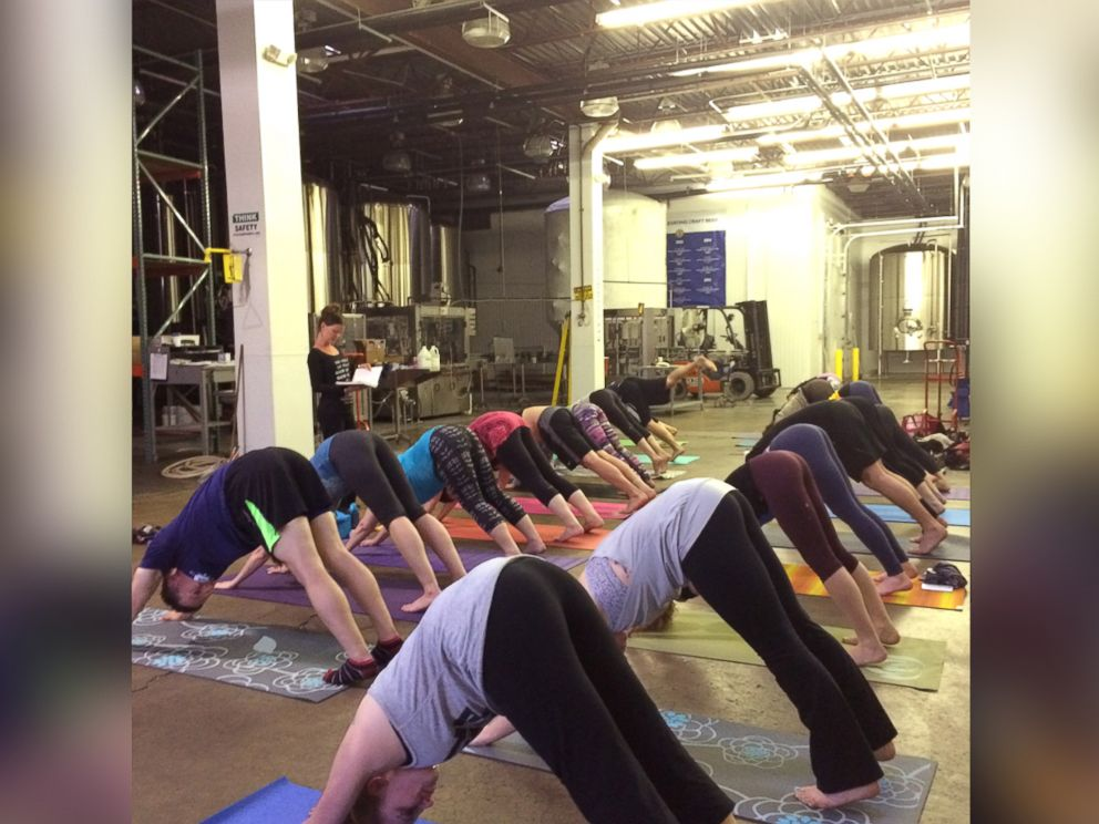 PHOTO: Breweries around the country are hosting yoga classes followed by a taste of their beer.