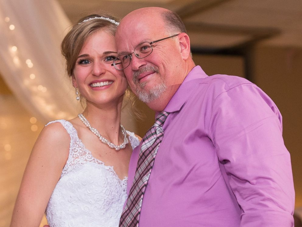 PHOTO:Greta Hokanson of Minnetonka, Minn. pictured at her wedding on Oct. 10, 2015, with Danny Daniels, the man who saved her life with his bone marrow donation in 2007.