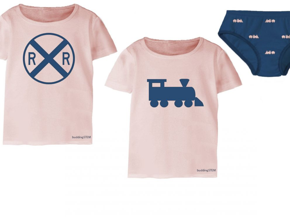 PHOTO: The buddingSTEM clothing line features prints like the railroad prints, pictured here, in various clothing styles.