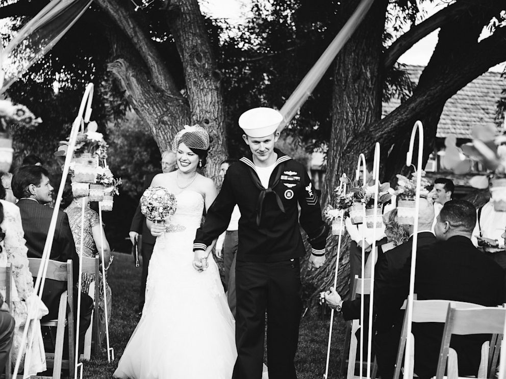 PHOTO: Joshua Bundy, a petty officer first class in the Navy, and his new bride Lacy Wilkinson, both 25, planned a new wedding in a day, with help from Save My Colorado Wedding, after their Colorado venue was washed out.