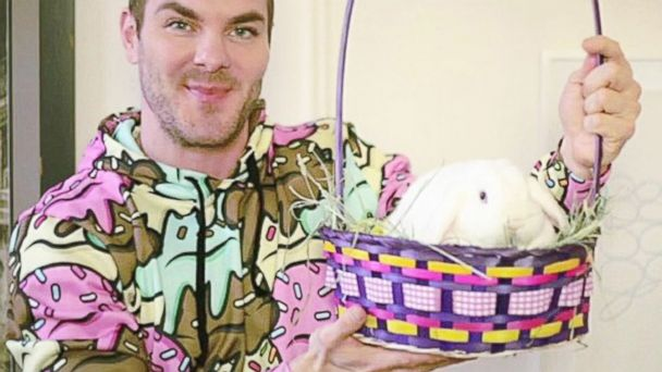 PHOTO: Todd Hanebrink and one of the rabbits competing in NYCs Bunny Beauty Pageant.
