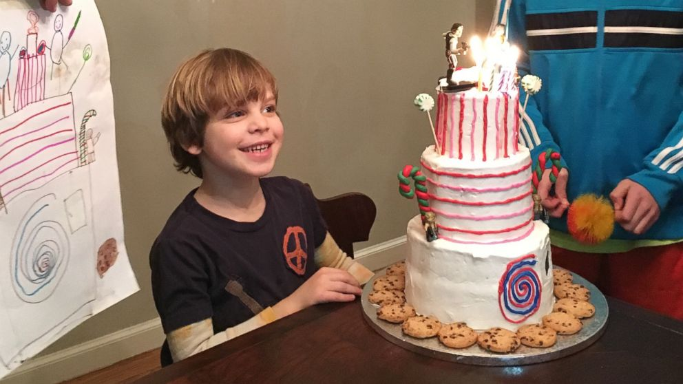 Magnificent Boy Surprised With Dream Birthday Cake From His Drawing Abc News Personalised Birthday Cards Veneteletsinfo