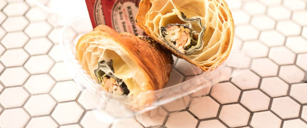 """PHOTO: A look inside the """"California Croissant,"""" which is stuffed with sushi."""