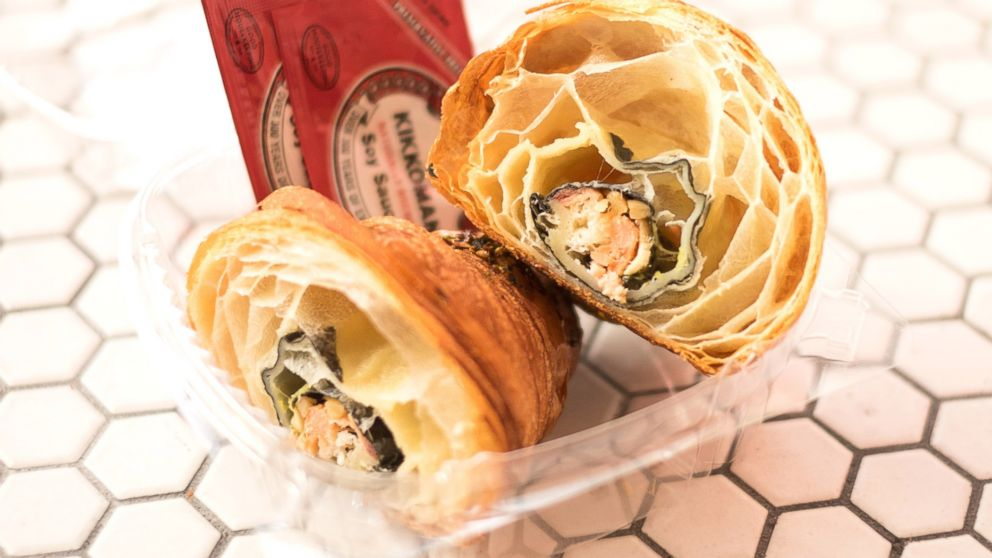 """A look inside the """"California Croissant,"""" which is stuffed with sushi."""