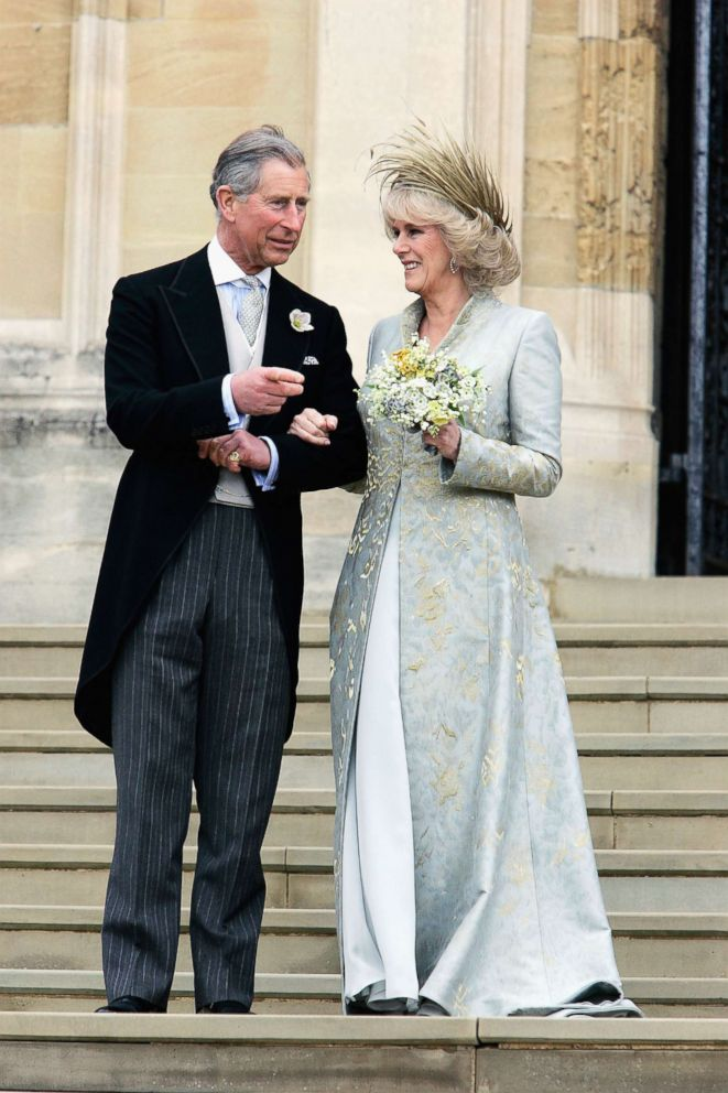 PHOTO: Prince Charles, and Camilla leave the Service of Prayer and Dedication blessing their marriage at Windsor Castle on April 9, 2005 in Berkshire, England.