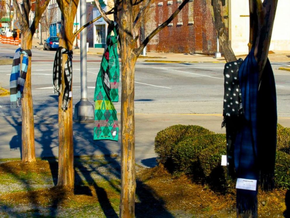 PHOTO: Chase the Chill of Central GA tied 144 scarves to trees for the taking.