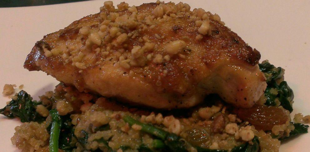 PHOTO: Chef Rocco Whalens recipe for his Fahren-Lite chicken with quinoa, golden raisins and olives.