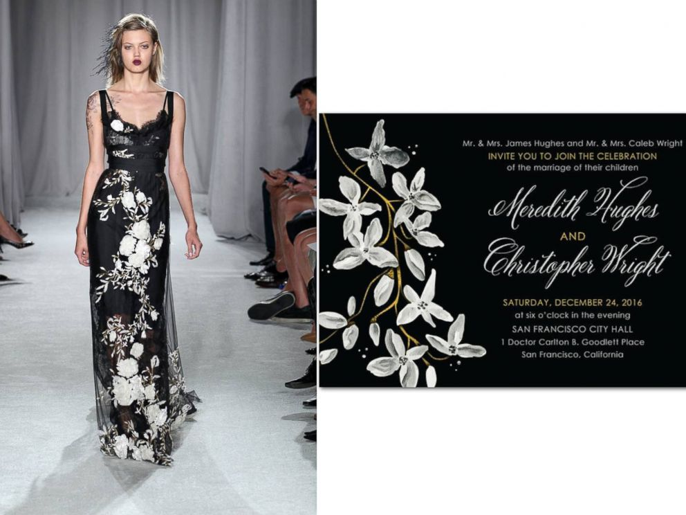 PHOTO: Wedding Paper Divas Night Blooms, inspired by Marchesa Gown.