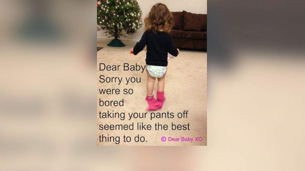 """Sarah Showfety posted this photo with the caption, """"Dear Baby: Sorry you were so bored taking your pants off seemed like the best thing to do."""""""