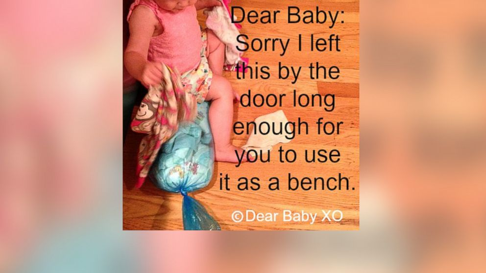"""Sarah Showfety posted this photo with the caption, """"Dear Baby: Sorry I left this by the door long enough for you to use it as a bench."""""""