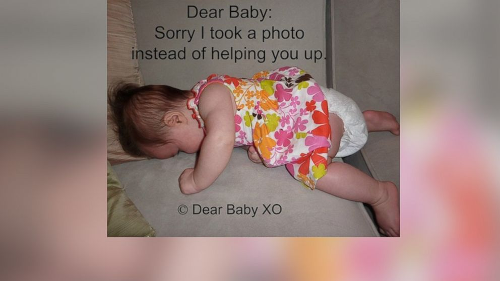 """Sarah Showfety posted this photo with the caption, """"Dear Baby: Sorry I took a photo instead of helping you."""""""